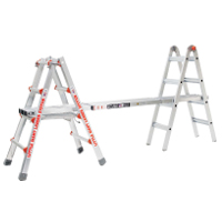 Little Giant Ladder split into two trestles with scaffolding plank